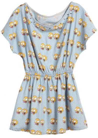 Blue Sleeveless Simpson Print Bandeau Rivet Denim Dress