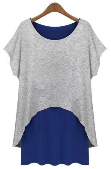 Grey Blue Short Sleeve Loose Two Pieces Dress
