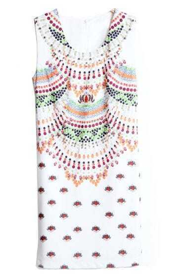White Sleeveless Bead Gemstone Print Dress
