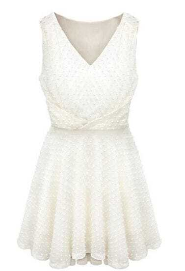 White V Neck Sleeveless Ruffles Pleated Dress