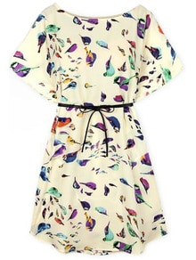 Batwing Short Sleeve Birds Print Shift Dress