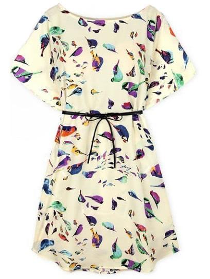 Batwing Short Sleeve Birds Print Shift Dress -SheIn(Sheinside)