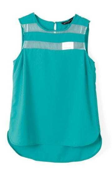 Green Sleeveless Contrast Shoulder Blouse