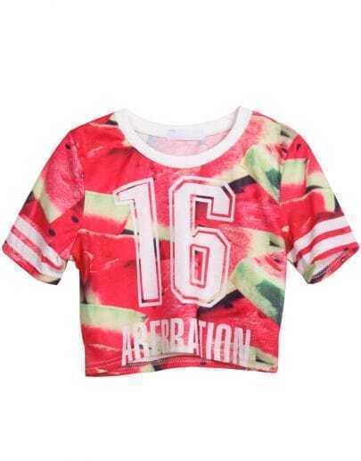 Red Short Sleeve Watermelon 16 Print Crop T-Shirt