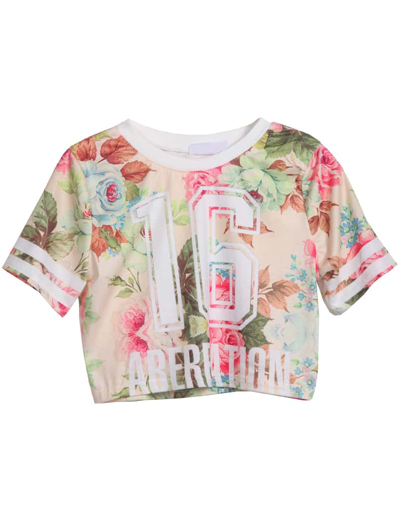 Apricot short sleeve floral 16 print crop t shirt shein for T shirt printing stonecrest mall