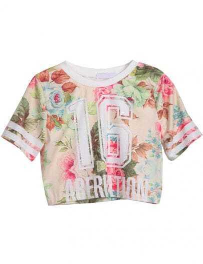 Apricot Short Sleeve Floral 16 Print Crop T-Shirt