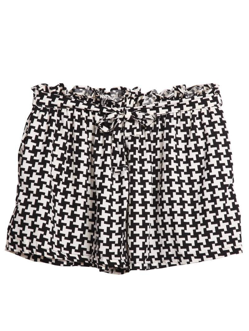 Black And White Print Shorts - The Else