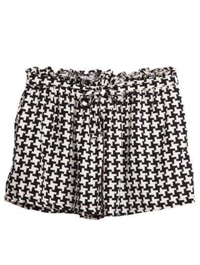 Black White Houndstooth Print Belt Shorts