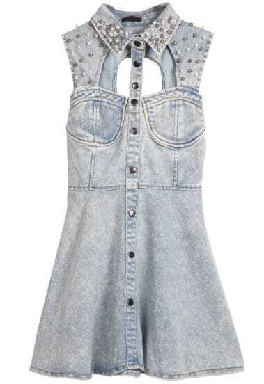 Light Blue Sleeveless Sequined Hollow Backless Denim Dress