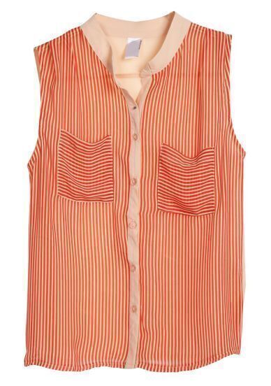 Wine Red Sleeveless Vertical Stripe Chiffon Blouse