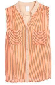 Orange Sleeveless Vertical Stripe Chiffon Blouse