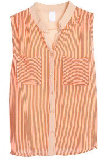 Orange Sleeveless Vertical Stripe Chiffon Blouse