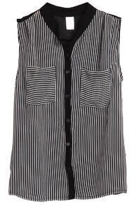 Black Sleeveless Vertical Stripe Chiffon Blouse