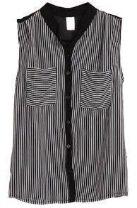 Black Sleeveless Vertical Stripe Chiffon Blouse