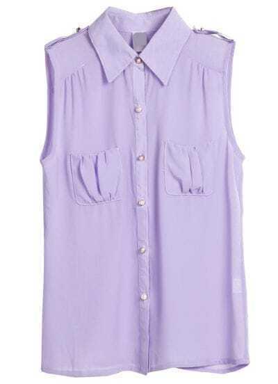 Purple Sleeveless Pearls Buttons Chiffon Blouse