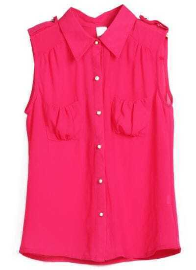 Red Sleeveless Pearls Buttons Chiffon Blouse