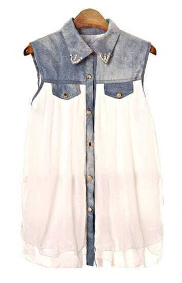 Blue Bead Lapel Denim Contrast Chiffon Blouse