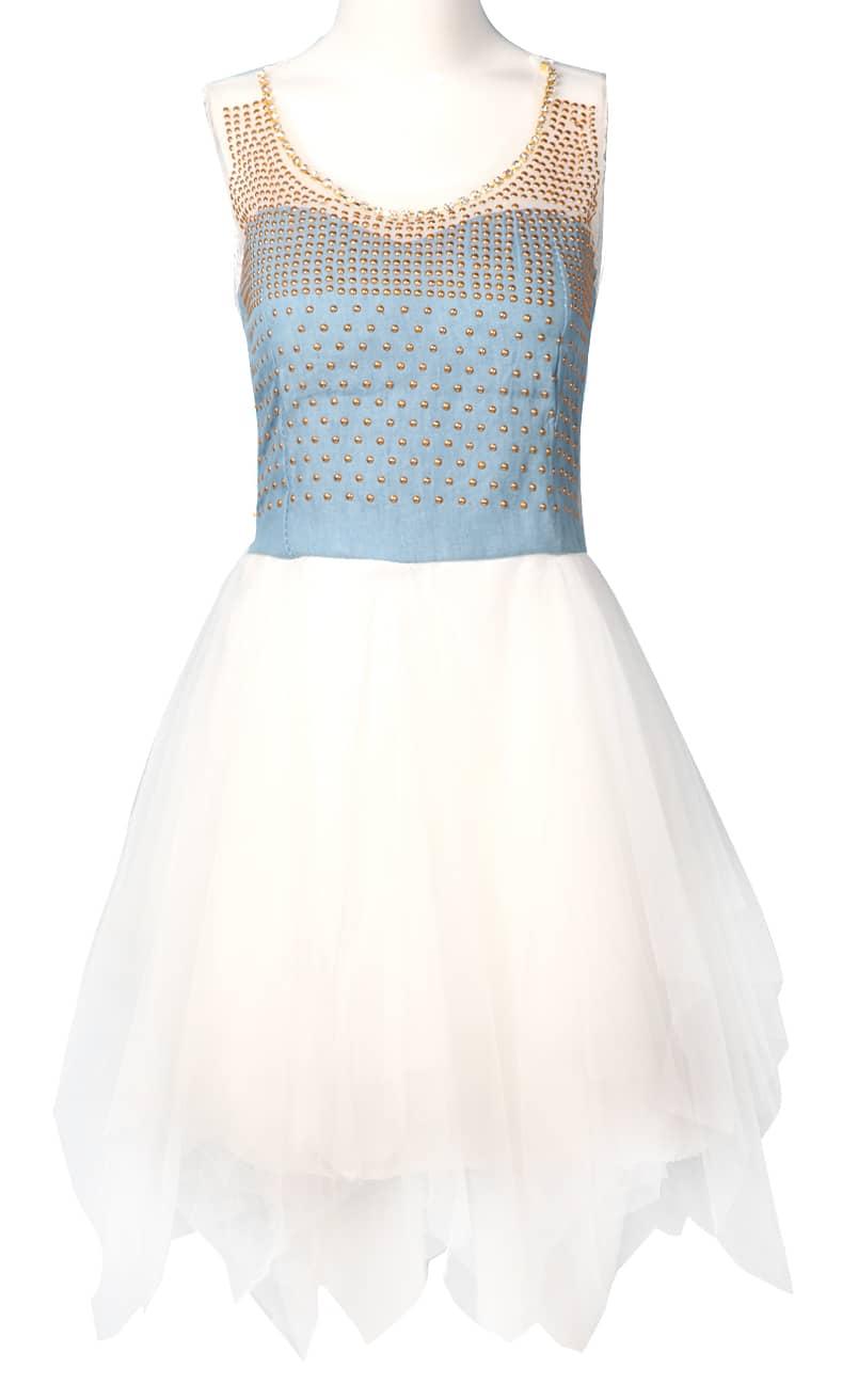 blue denim contrast white lace sleeveless rivet dress