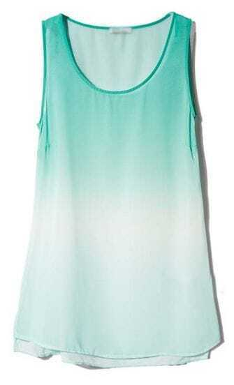 Green Gradient Sleeveless Chiffon Vest
