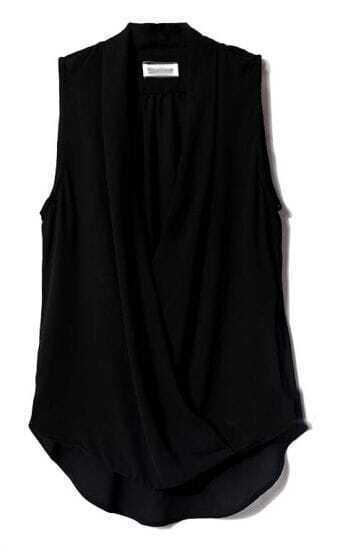 Black V Neck Sleeveless Asymmetrical Chiffon Blouse
