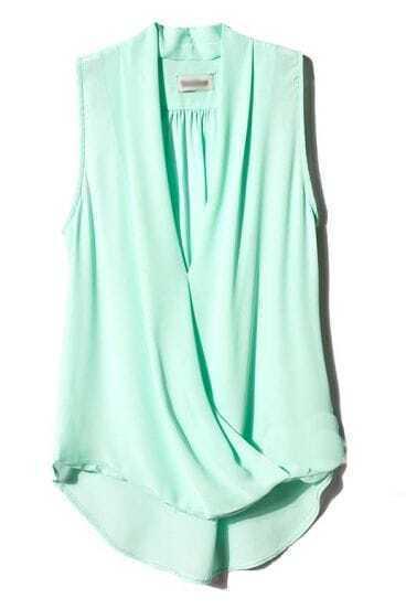 Green V Neck Sleeveless Asymmetrical Chiffon Blouse