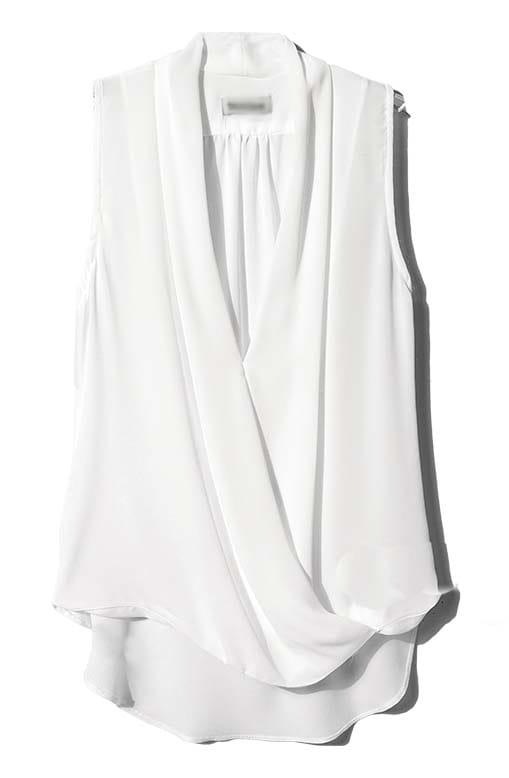 White V Neck Sleeveless Asymmetrical Chiffon Blouse -SheIn(Sheinside)