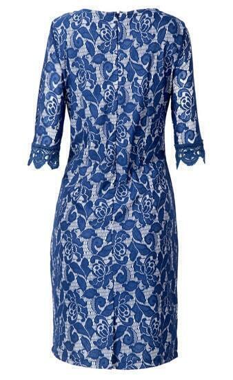 blue half sleeve embroidery bodycon lace dress shein