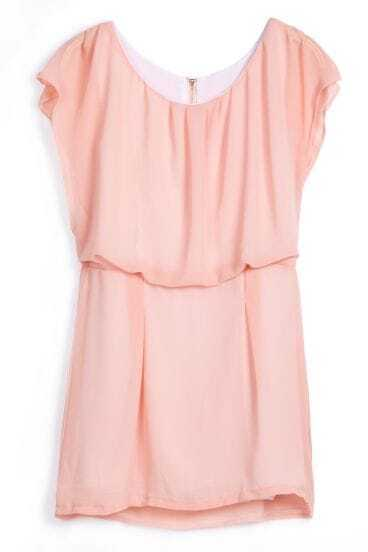 Pink Sleeveless Back Zipper Loose Chiffon Dress