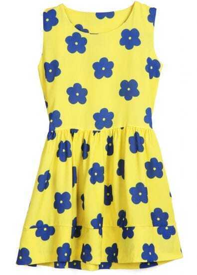 Yellow Round Neck Sleeveless Floral Dress