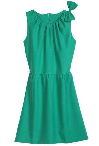 Green Sleeveless Bow Embellished Shoulder Dress