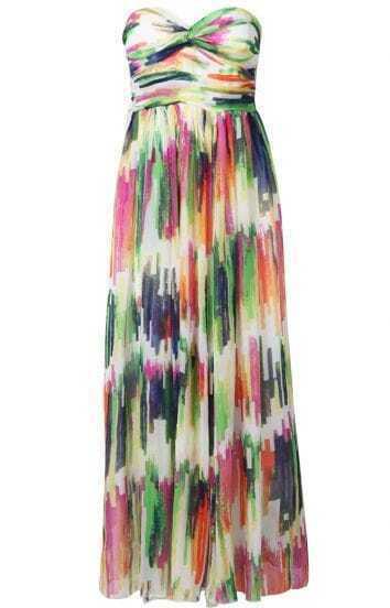 Multi Strapless Bandeau Print Chiffon Dress
