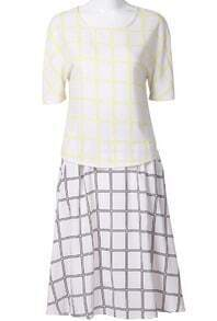 White Yellow Plaid Half Sleeve Blouse With Plaid Skirt