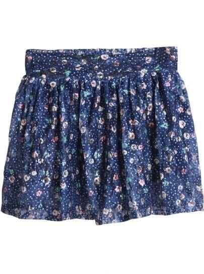 Blue Elastic Waist Floral Pleated Skirt