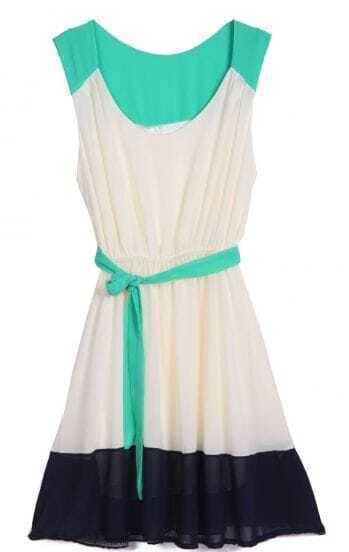 Green Apricot Black Sleeveless Belt Pleated Dress