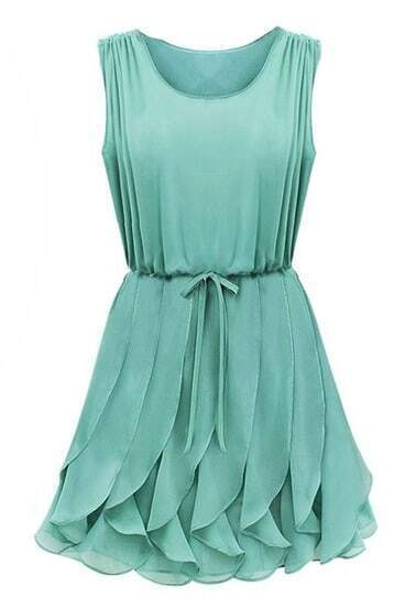 Green Aqua Sleeveless Ruffles Homecomming Battenburg Pleated Chiffon Dress