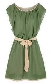 Army Green Round Neck Self-Tie Waist Chiffon Dress