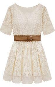 Beige Short Sleeve Embroidery Crochet Lace Hem Belt Dress