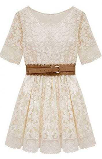 Beige Short Sleeve Embroidery Crochet Lace Hem Belt Dress