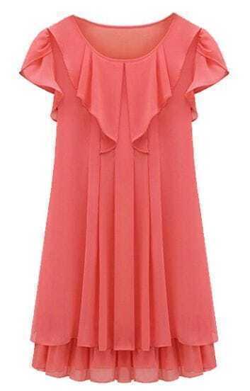 Red Sleeveless Ruffles Pleated Chiffon Dress