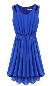 Blue Sleeveless Hollow Shoulder Pleated Dress