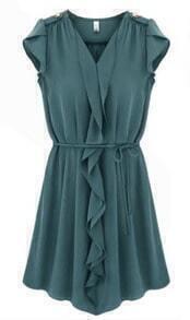 Dark Blue Sleeveless Ruffles Drawstring Pleated Dress