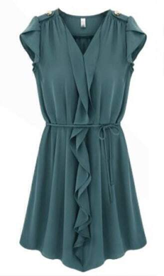Dark Blue Sleeveless Ruffles Drawstring Pleated Dress