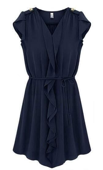 Navy Sleeveless Ruffles Drawstring Pleated Dress