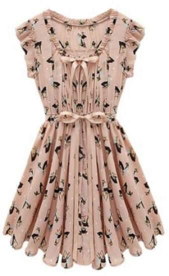 Pink Sleeveless Belt Deer Print Chiffon Dress