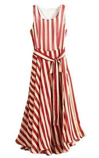 Red Apricot Striped Sleeveless Belt Chiffon Dress