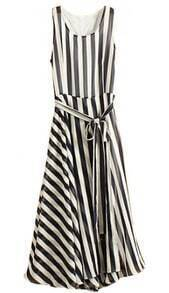 Navy White Striped Sleeveless Belt Chiffon Dress