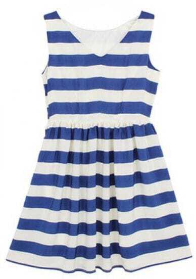 Navy White Striped V Neck Sleeveless Chiffon Dress