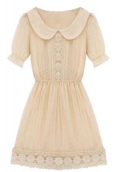 Apricot Short Sleeve Peter Pan Collar Crochet Lace Chiffon Dress