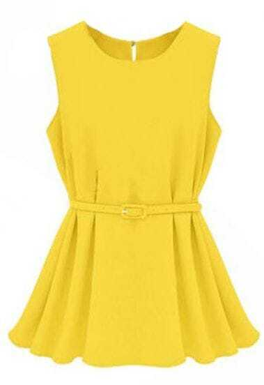 Yellow Round Neck Sleeveless Pleated Belt Top