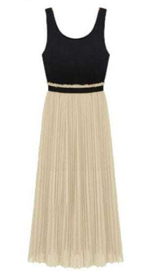 Black Apricot Sleeveless Elastic Waist Pleated Dress